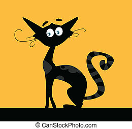 Black cat - Black silhouette of cat isolated on color...