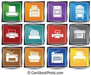 Printer Square Icons Color