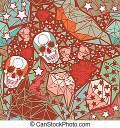 Skull with geometric polygonal ornament. - Skull with floral...
