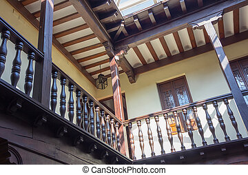 Nice patio with wooden terrace and windows in Alcala de...
