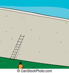 Man and Short Ladder at Wall
