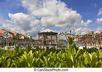Famous Plaza de Cervantes in Alcala de Henares, Spain