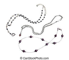 Necklaces on White Background