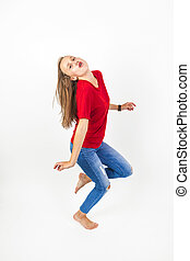 young beauty girl flying in jump with brown hair - young...