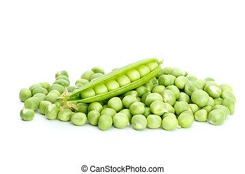 agrietado, vaina, encima, pila, verde, guisantes