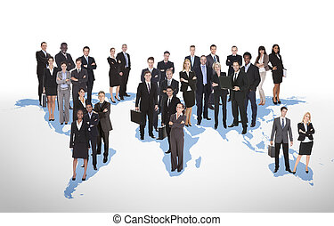 Multiethnic Business People Standing On World Map -...