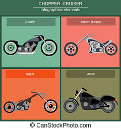Set of elements choppers, cruisers for creating your own...