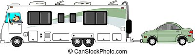 Motorhome towing a car - This illustration depicts a Class A...