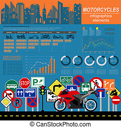 Set of motorcycles elements, transportation infographics....