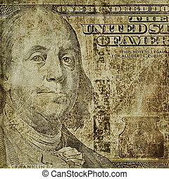old grunge one hundred dollars bill - illustration old...