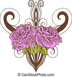 Pink Rose Vase Drawing - Beautiful hand drawn pink rose...
