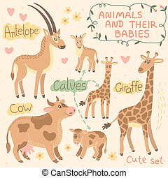 Baby and Mommy Animal Set - for design and scrapbook Vector...