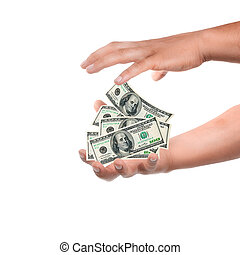 economic crisis - male hand holding currency over white...