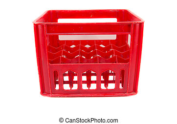 red plastic storage box on a white background - red plastic...