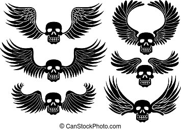 Winged Skull - Set of black skulls with wings.