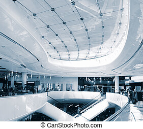 Mall architecture - Modern sleek shopping architecture in...
