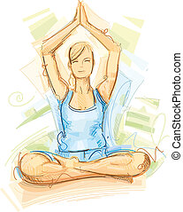 Yoga Training - This Yoga Sketch was illustrated in Vectors...