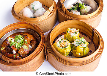 Various dim sum in bamboo steamed bowl - Various Dim Sum in...