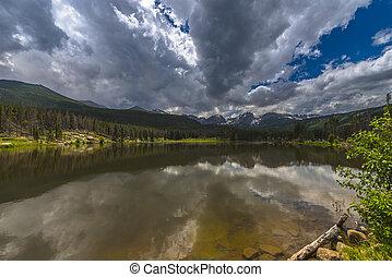 Sprague Lake Colorado - Dramatic sky over beautiful Sprague...
