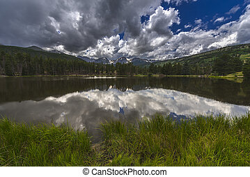 Sprague Lake Colorado - Dramatic sky over beautiful Sprague...