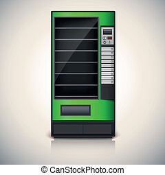 Vending Machine with shelves, green coloor Vector icon,...