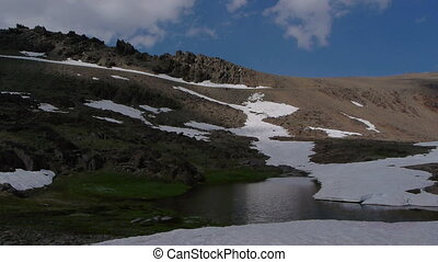 snowmelt in the mountains when spring came to Sierra Nevada