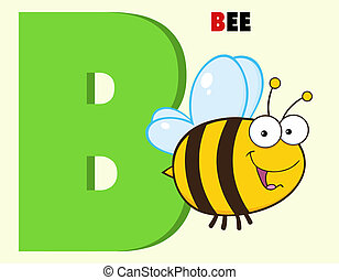 Alphabet-B With Bee And Text - Funny Cartoon Alphabet-B With...