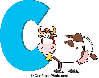 Cartoon Alphabet-C With Cow