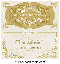 Baroque wedding invitation, gold and beige - Antique baroque...