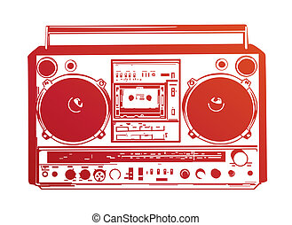 boombox -  illustration of vintage boombox