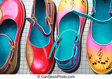 Colorful shoes. - Colorful shoes on display.