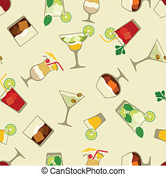 Alcohol drinks and cocktails seamless pattern in flat style