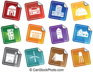 Structure Sticker Icon Set - Group of different types of...