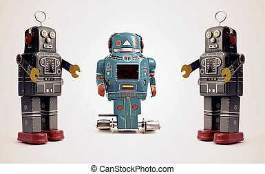 robot - three retro robot toys