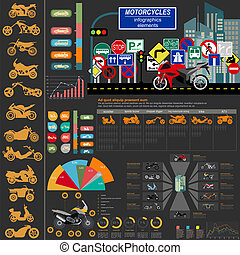 Set of motorcycles elements, transportation infographics...