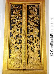 Golden door at Phra Prathom Jedi,Nakhon Pathom,Thailand