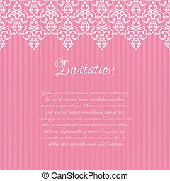 Vector pink damask invitation blank with a place for your text