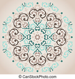 Vector circular turquoise and beige ornament design