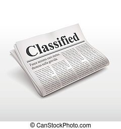 classified words on newspaper over white background