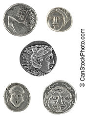 Ancient Greek Coins - Ancient Greek coins isolated in white