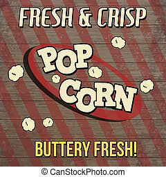 Pop corn vintage poster design on wooden background, vector...