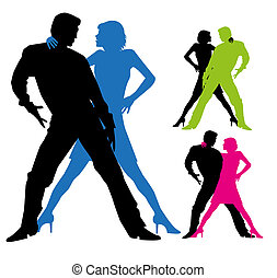 vector tango dancers silhouette on white background
