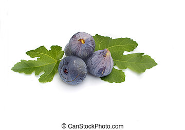 Fresh figs on white background - Fresh figs with leaves...