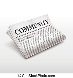 community word on newspaper over white background