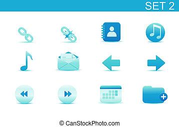 web icons - illustration - set of blue elegant simple icons...