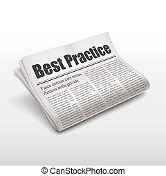 best practice words on newspaper over white background