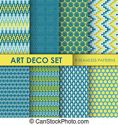 Vintage Art Deco Background Set - 8 seamless patterns for...