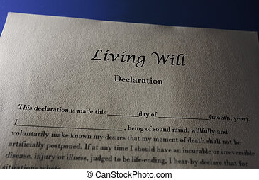 Living Will Declaration document for end of life...