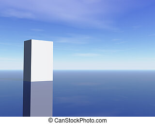 blank packing - white box in front of blue sky - 3d...
