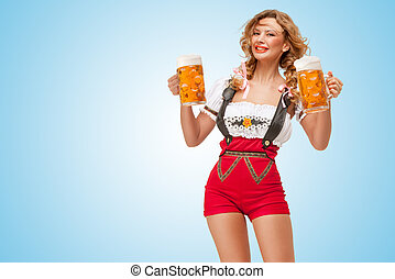 Happy spirits. - Young smiling sexy Swiss woman wearing red...